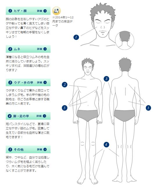 脱毛できる箇所|男性向けヒゲ・カラダ脱毛|MEN'S TBC
